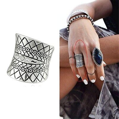 Fashion Vintage Tribal Ethnic Retro Gypsy Boho Carved Totem Antique Ring