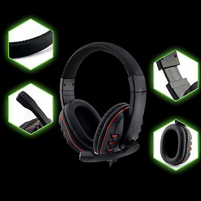 3.5mm Gamer Over-ear Headset Earphone Headband with Mic Stereo Bass for ps4