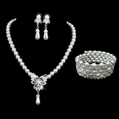 Crystal White Pearl Necklace Earring Bracelet Wristband Wedding Prom Jewelry Set