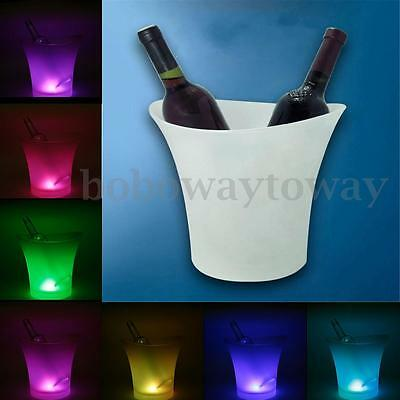 7 Colors LED Light Ice Bucket Champagne Wine Drinks Beer Ice Cooler Bar Party