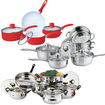 Cookware Set Saucepan Frying Pan Pot Stainless Steel Non Stick Glass Ceramic New