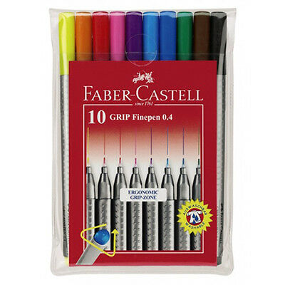 Faber Castell Grip Fine Pen Colour Marker Set of 10. Artists Coloured Drawing.
