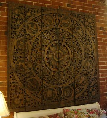 Large Hand Carved Solid Wood Wall Hanging Carving - Zodiac Thailand Chiang Mai