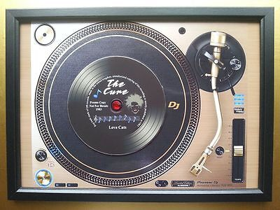 THE CURE Vinyl Promo copy playing on a turntable CD Memorabilia Frame,Love Cats