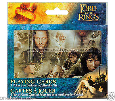 THE LORD OF TH E RINGS 2 Poker Size Decks PLAYING CARDS w/Collectible Tin NEW!