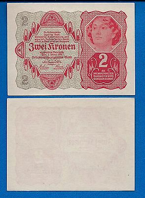 Austria P-74 Two Kronen Year 1922 Uncirculated Banknote Europe