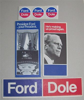 Set Of Two Gerald Ford Political Brochures and Stickers