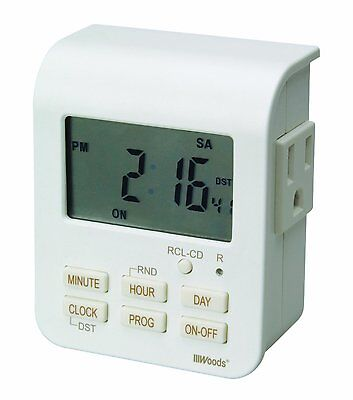 Woods 50009 Indoor 7-Day Heavy Duty Digital Outlet Timer w/ 2-Outlets