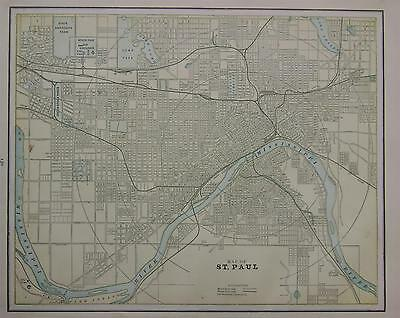 1892 St. Paul, Mn. Original Color Atlas Map^ Kansas City on Back .124 Years-Old!
