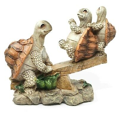 Three Tortoise Turtle Family Sitting On Seesaw In Garden Collectible Figurine