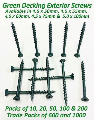 GREEN ANTI CORROSION ACQ DECKING SCREWS FENCING EXTERIOR WOOD SCREWS - All Sizes