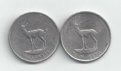 2 - 25 FIL COINS from the UNITED ARAB EMIRATES (1998 & 2007)