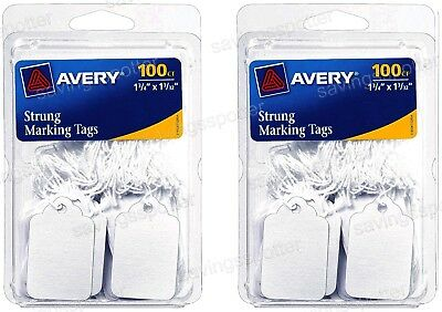 """200 ct. Avery 6732 Strung Marking Tags White 1-3/4"""" x 1-3/32"""" Price String"""