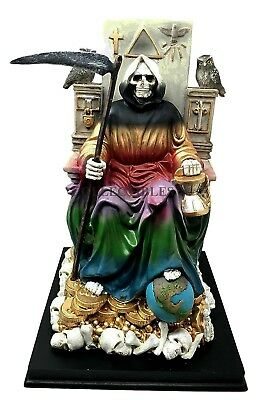 Rainbow Robe Santa Muerte Holy Death Grim Reaper Skeleton On Throne Figurine