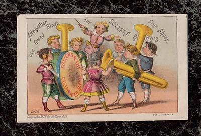 1877 Victorian Children in Band Sollers & Co Shoes Trade Card Philadelphia