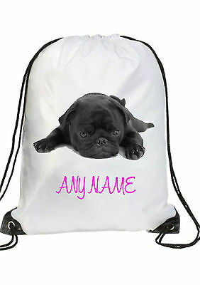 a74e3f4e1ac8 GIRLS Personalised black PUG puppy Gym BAG for Swim PE Dance School Great