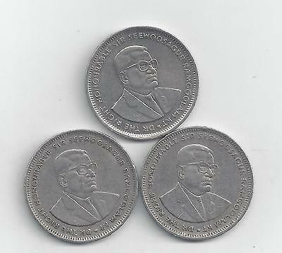 3 DIFFERENT 1 RUPEE COINS from MAURITIUS (1987, 1991 & 1997)