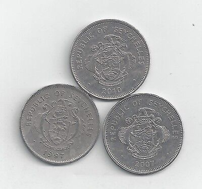 3 DIFFERENT 1 RUPEE COINS from SEYCHELLES (1997, 2007 & 2010).