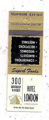 Hotel London 300 Modern Rooms London ON Ontario Matchcover 011316
