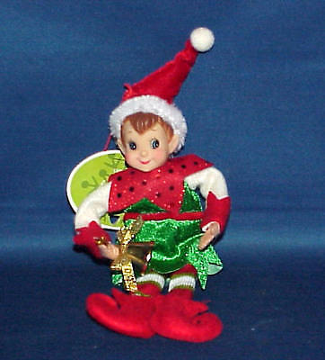 Pixie Elf With Bell Shelf Sitter Christmas Decoration Ornament