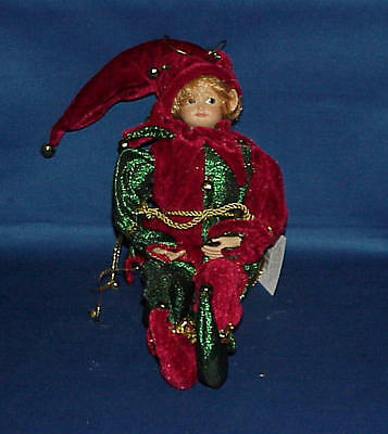 Poseable Pixie Elf Shelf Sitter Green & Red Christmas Ornament Decoration