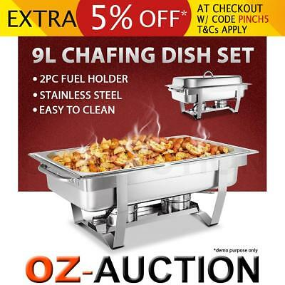 9L Stainless Steel Bain Marie Chafing Dish Buffet Food Warmer Heater