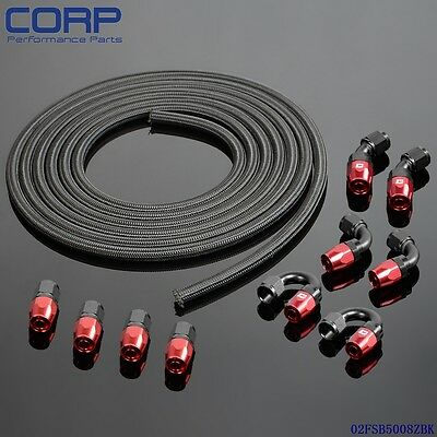 AN8 -8AN Stainless Steel Braided Oil/Fuel Line + Fitting Hose End Adaptor KIT