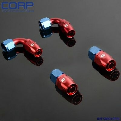 4 PCS AN6 0°  + 90°  Degree  Swivel Oil/Fuel/Air/Gas Line Hose End Fitting Blue