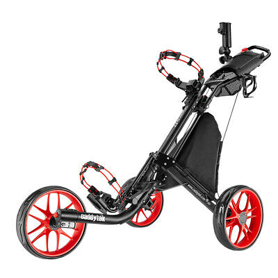 CaddyTek CaddyLite EZ-Fold 3 Wheel Golf Push Buggy / Push Cart - Red