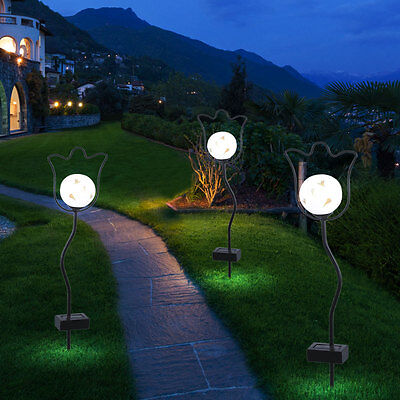 3er set led steck leuchten solar kugeln wei garten deko beleuchtung au en licht eur 46 50. Black Bedroom Furniture Sets. Home Design Ideas