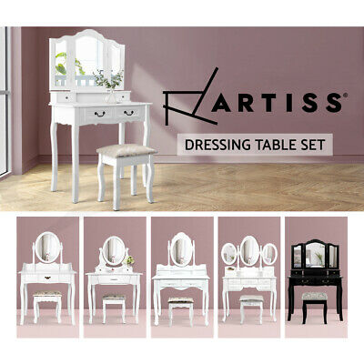 Artiss Luxury Dressing Table & Stool Mirrors Jewellery Cabinet Drawers Organizer