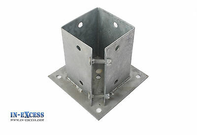 "Bolt Down Post Support 100 x 100mm 4"" Square Clamp Fence Galvanized Steel"
