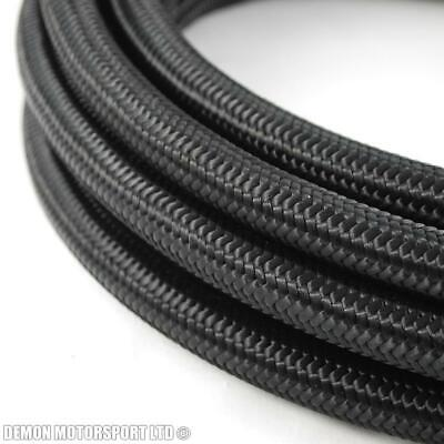 Black Nylon Braided Fuel Oil Hose JIC AN4 4AN -4 (5mm / 3/16) 1 metre