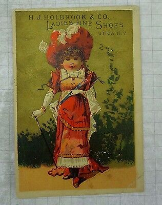 Antique H J Holbrook Ladies Fine Shoes Utica NY trade card girl cane hat 1880s