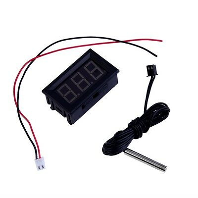 Red DC12V Digital Thermometer With Temp Probe Temperature LED Detector GK
