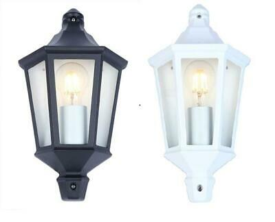 Outdoor Exterior 3 Sided Half Wall Lantern Black or White Complete With Lamp