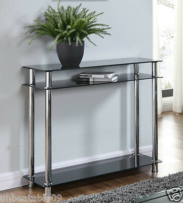 Black or Clear Glass Chrome Console Table Large Hall Table Modern Furniture New