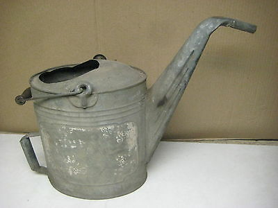 vintage antique galvanized metal watering can w/ wood handle, free shipping