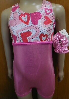 56aff652a NWT FOIL SHORTY unitard Pink Valentines Hearts Girls Sizes Acro ...
