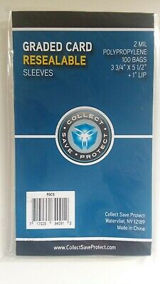 "CSP Beckett Size Graded Card Sleeves 100 ct NIP 2 Mil Resealable 3 3/4""x5 1/2"""