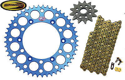 Front and Rear Blue Sprocket Gold Chain 13 48 Fits Yamaha Yz250F 2001-2006