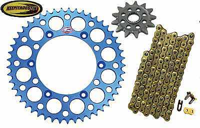 Front and Rear Blue Sprocket Gold Chain 13 49 Fits Yamaha Yz250F 2007-2011