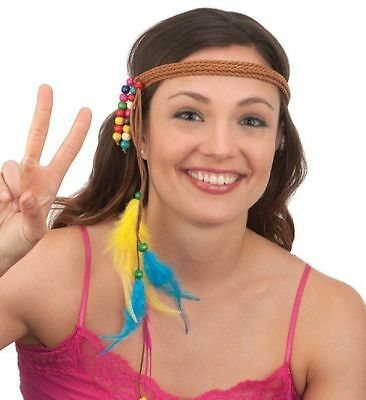 Hippie Braided Headband Indian Native American Beaded Dream Catcher Costume Wear