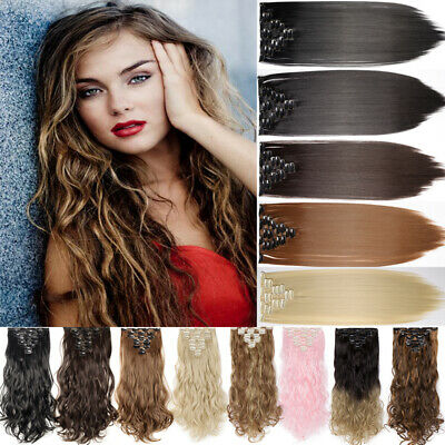 AU Clip in Full Head Hair Extensions Straight Curly Natural Real as Humans SN05