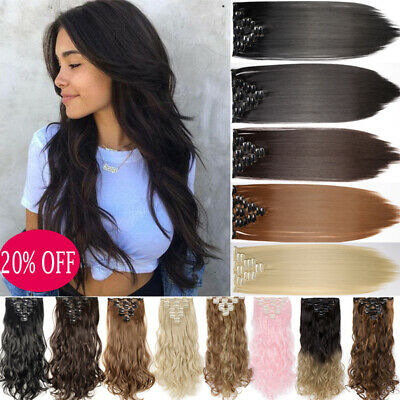 Real Natural Full Head Clip in Hair Extensions Thick Straight Curly as Human AU
