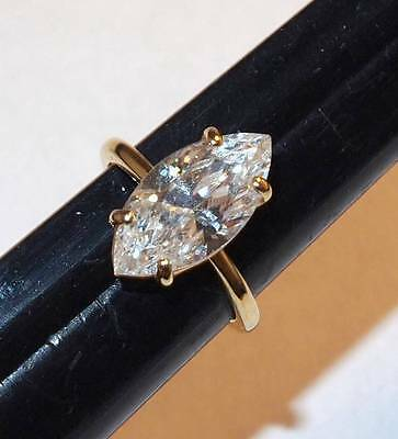 Vintage Engagement Style Setting Large Oval Clear Stone Goldtone Ring 6 1/4
