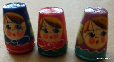 bulk of 3 HANDPAINTED WOOD  RUSSIAN THIMBLE
