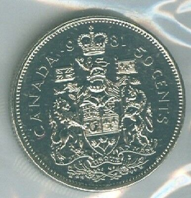 1981 Fifty Cent Half Dollar 81' Canada-Canadian BU Coin UNC RCM Proof Like PL