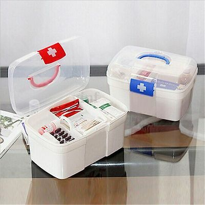 Plastic 2 Layers Home Medicine Chest First Aid Kit Holder Storage Box