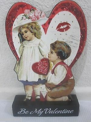Vintage Style Valentines Day Wood Sign Small Children Decor Decoration